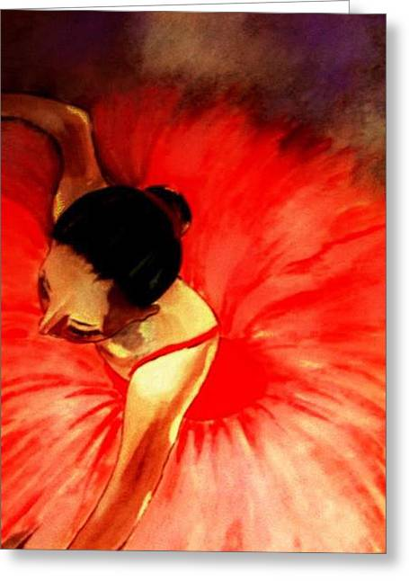 La Ballerine Rouge Dans Le Theatre Greeting Card by Rusty Woodward Gladdish