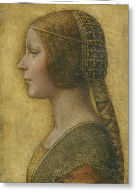 Italian Greeting Cards - La Bella Principessa - 15th Century Greeting Card by Leonardo da Vinci