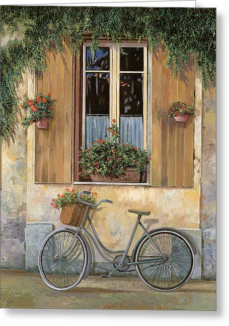 Street Scenes Paintings Greeting Cards - La Bici Greeting Card by Guido Borelli
