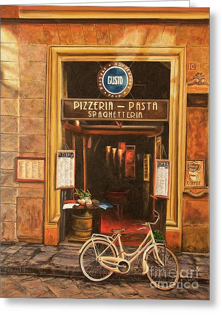 Italian Cafe Greeting Cards - La Bicicletta Greeting Card by Charlotte Blanchard