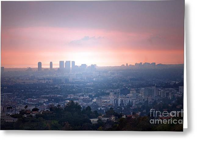 Red Buildings Greeting Cards - La Ca Greeting Card by Dan Holm