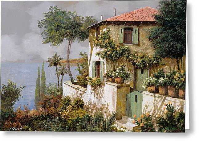 Villa Paintings Greeting Cards - La Casa Giallo-verde Greeting Card by Guido Borelli