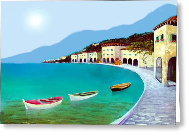La Citta Sul Mare Greeting Card by Larry Cirigliano