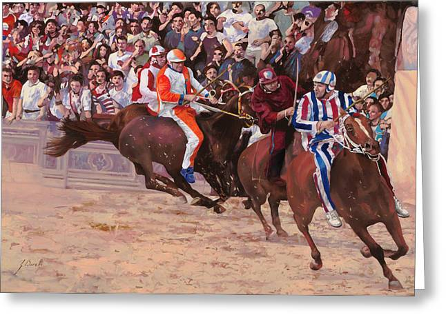 Siena Italy Greeting Cards - La Corsa Del Palio Greeting Card by Guido Borelli