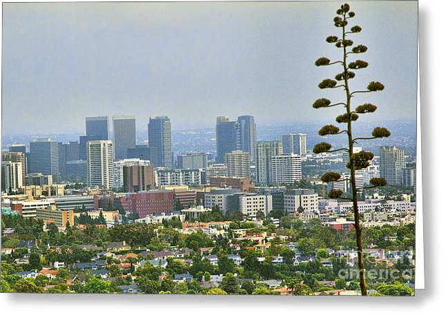 Getty Greeting Cards - L.A county Greeting Card by Chuck Kuhn