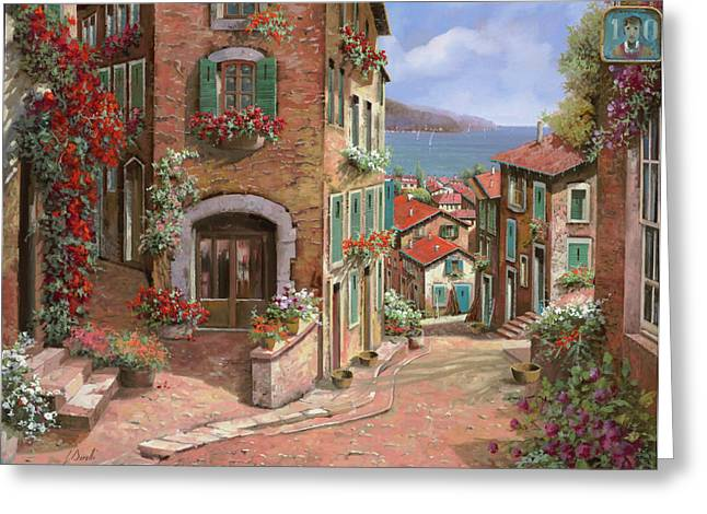 Italy Greeting Cards - La Discesa Al Mare Greeting Card by Guido Borelli