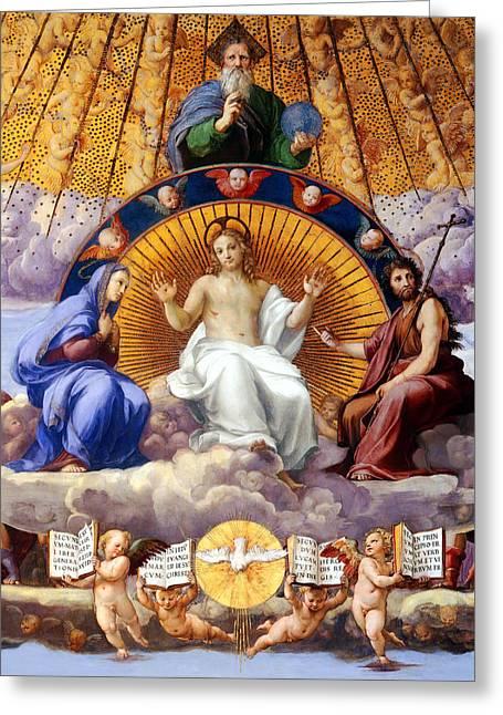 Sacrament Greeting Cards - La Disputa Del Sacramento Greeting Card by Raphael