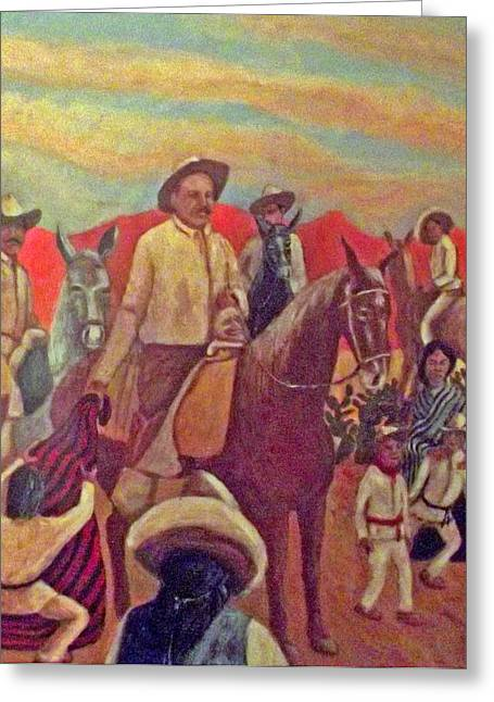 Poncho Paintings Greeting Cards - La Fiesta de San Martin de Caballo Greeting Card by James R Sanchez
