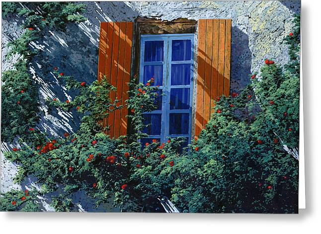 Blue Shadows Greeting Cards - La Finestra E Le Ombre Greeting Card by Guido Borelli