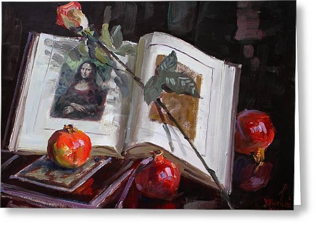 Art Book Greeting Cards - La Gioconda  Greeting Card by Ylli Haruni