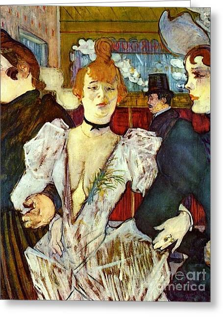 Starlet Paintings Greeting Cards - La Goule arriving at Moulin Rouge Greeting Card by Pg Reproductions