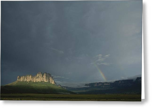 Light And Dark Greeting Cards - La Gran Sabana Landscape With Rainbow Greeting Card by John Burcham
