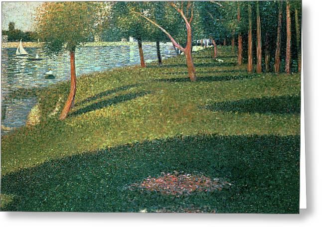 Seurat Paintings Greeting Cards - La Grande Jatte Greeting Card by Georges Pierre Seurat