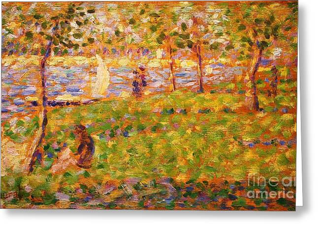 Seurat Greeting Cards - La Grande Jatte Greeting Card by Pg Reproductions