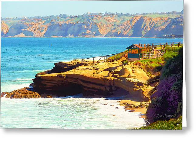 California Beach Art Digital Art Greeting Cards - La Jolla - Warming Hut Greeting Card by Russ Harris