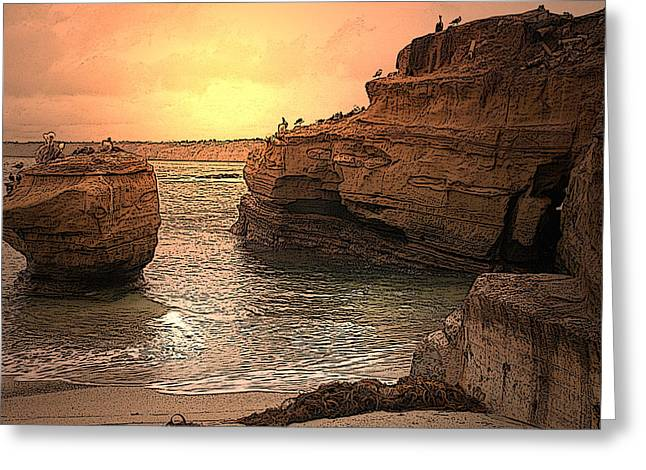 La Jolla Children's Cove Greeting Card by Richard Shelton