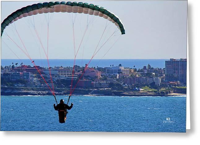 La Jolla Hang Glider  Greeting Card by Russ Harris