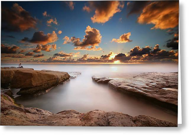La Jolla Reef Sunset 4 Greeting Card by Larry Marshall