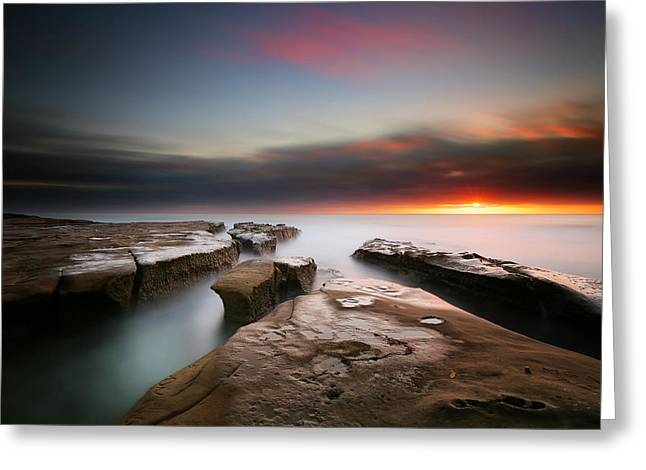 La Jolla Reef Sunset 7 Greeting Card by Larry Marshall