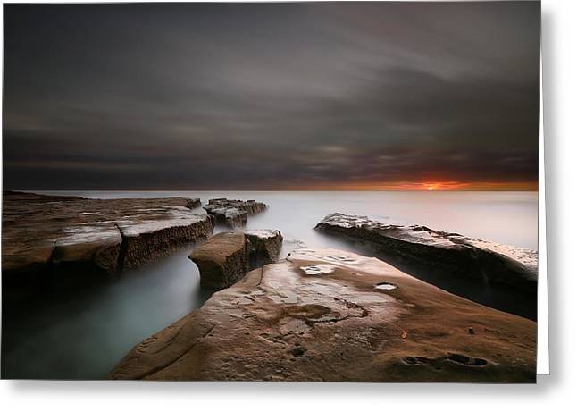 La Jolla Reef Sunset Greeting Card by Larry Marshall