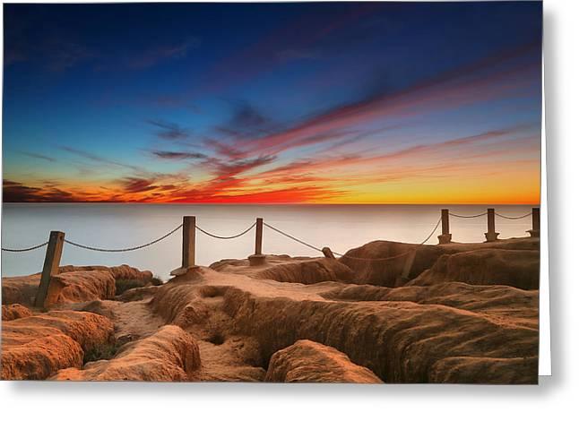 California Art Greeting Cards - La Jolla Sunset 3 Greeting Card by Larry Marshall