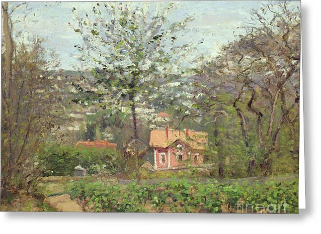 Camille Pissarro Greeting Cards - La Maison Rose Greeting Card by Camille Pissarro