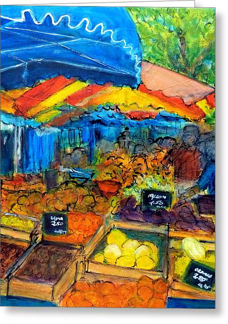 Languedoc Paintings Greeting Cards - La Marche Pezenas Greeting Card by Jackie Sherwood