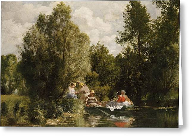 Boats In Water Greeting Cards - La Mare aux Fees Greeting Card by Pierre Auguste Renoir