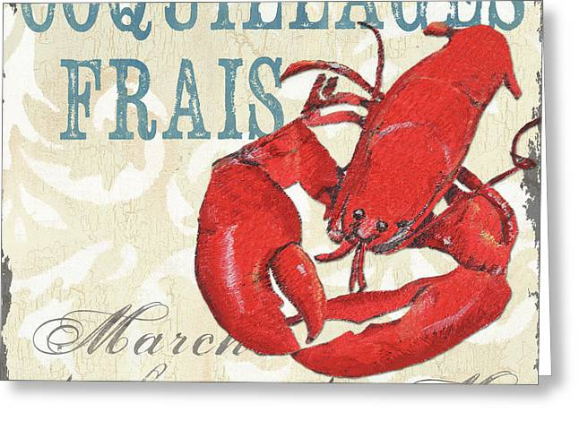 French Text Greeting Cards - La Mer Shellfish 2 Greeting Card by Debbie DeWitt