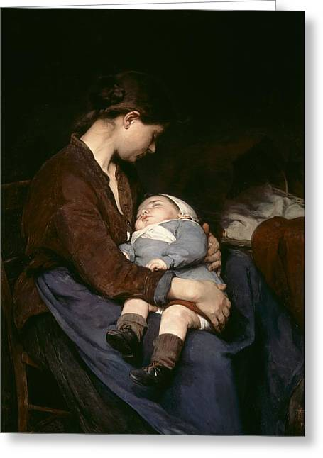 Maternal Greeting Cards - La Mere Greeting Card by Elizabeth Nourse