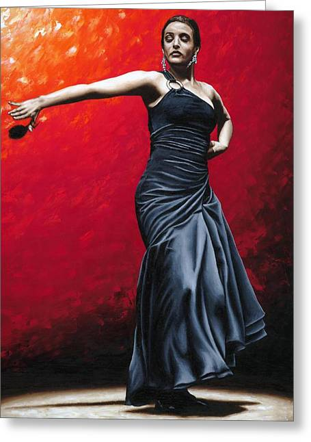 Black Dress Greeting Cards - La Nobleza del Flamenco Greeting Card by Richard Young