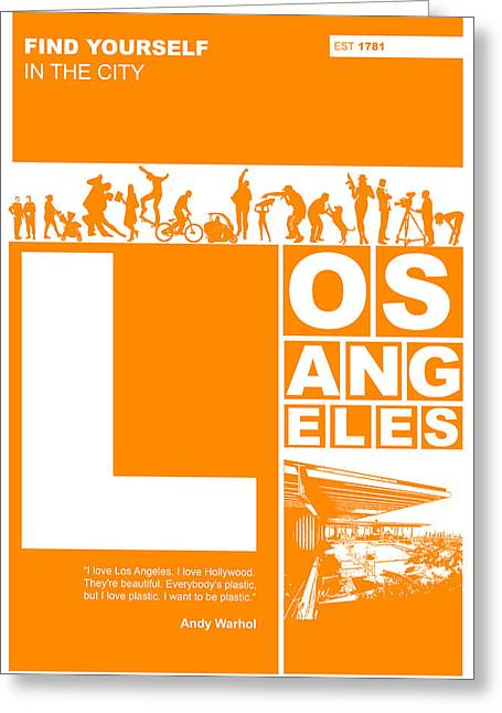 Lifestyle Greeting Cards - LA Orange Poster Greeting Card by Naxart Studio