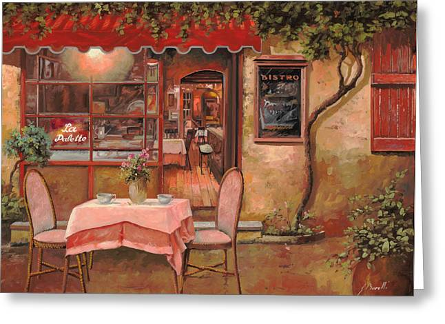 Street Scenes Paintings Greeting Cards - La Palette Greeting Card by Guido Borelli