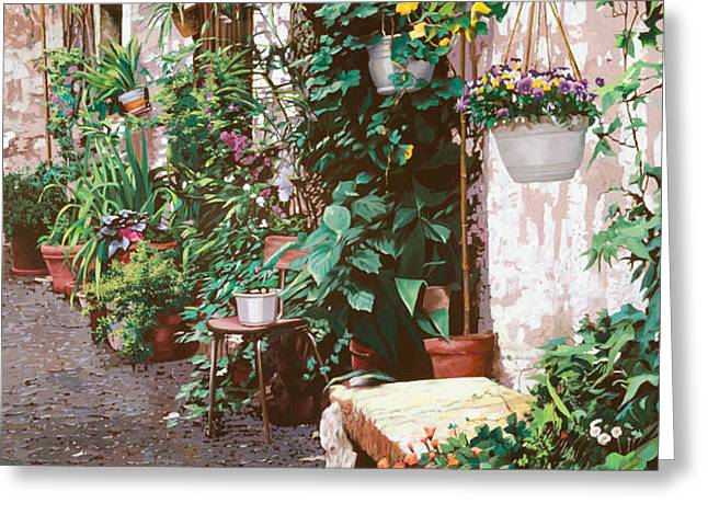la panca di pietra Greeting Card by Guido Borelli
