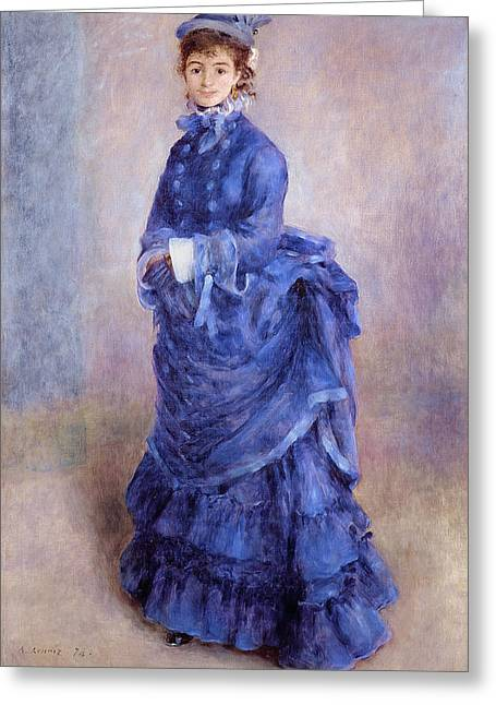 Blues Greeting Cards - La Parisienne The Blue Lady  Greeting Card by Pierre Auguste Renoir
