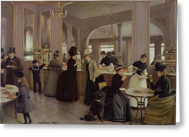 Coffee Drinking Greeting Cards - La Patisserie Greeting Card by Jean Beraud