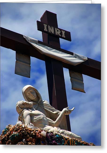 Christus Greeting Cards - La Pieta Greeting Card by Susanne Van Hulst