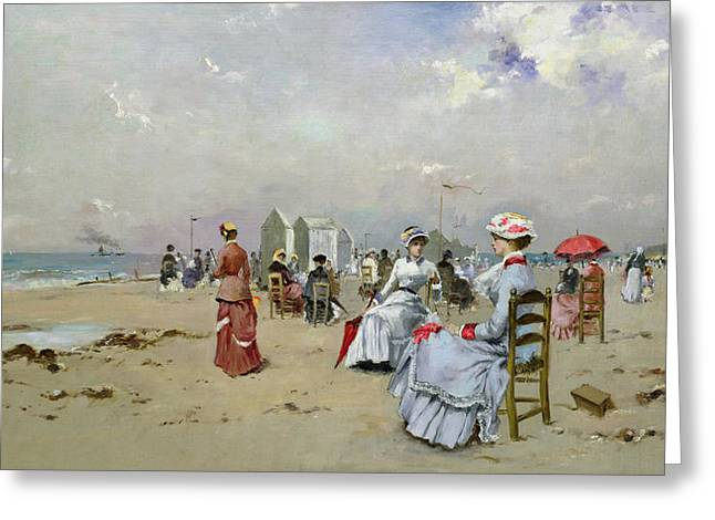 Umbrella Greeting Cards - La Plage de Trouville Greeting Card by Paul Rossert