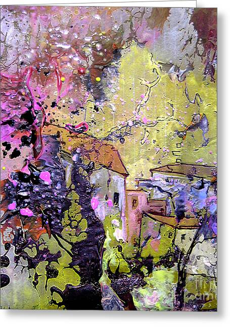 Vineyard Landscape Mixed Media Greeting Cards - La Provence 10 Greeting Card by Miki De Goodaboom