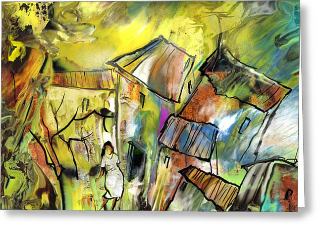 Provence Village Drawings Greeting Cards - La Provence 27 Greeting Card by Miki De Goodaboom