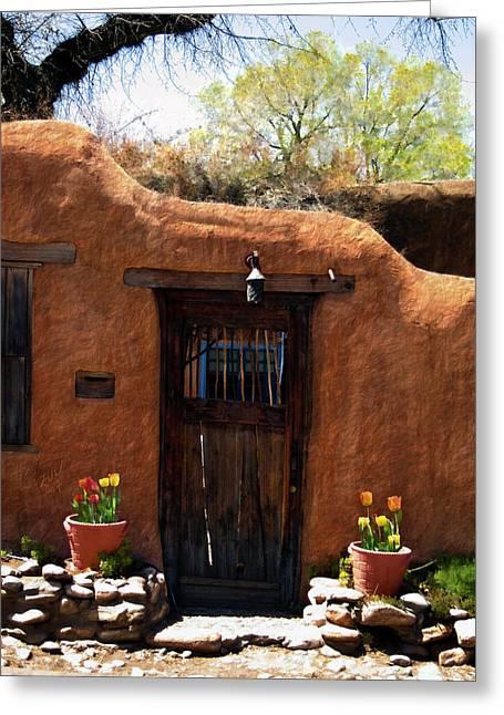 Santa Fe Greeting Cards - La puerta marron vieja - The old brown door Greeting Card by Kurt Van Wagner