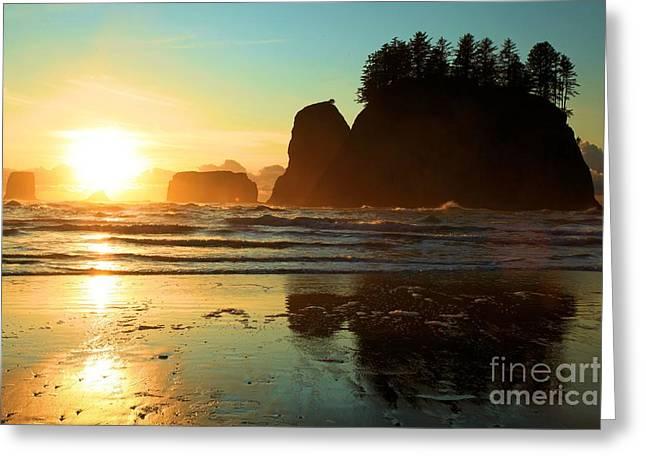 Forks Washington Greeting Cards - La Push Sunset Greeting Card by Adam Jewell
