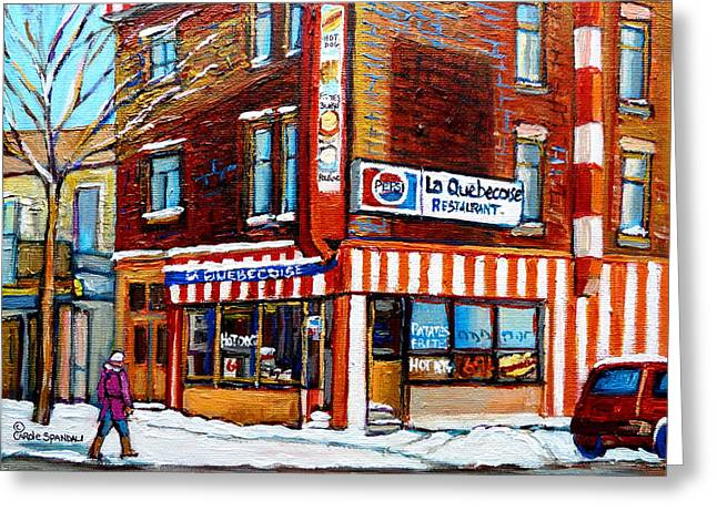 Out-of-date Greeting Cards - La Quebecoise Restaurant Montreal Greeting Card by Carole Spandau