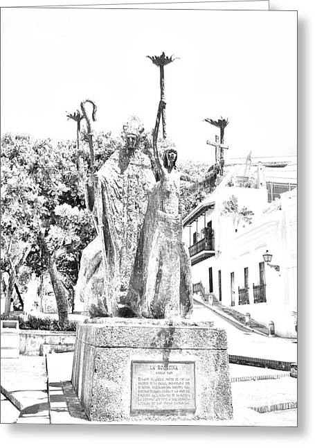 Rogativa Greeting Cards - La Rogativa Sculpture Old San Juan Puerto Rico Black and White Line Art Greeting Card by Shawn O