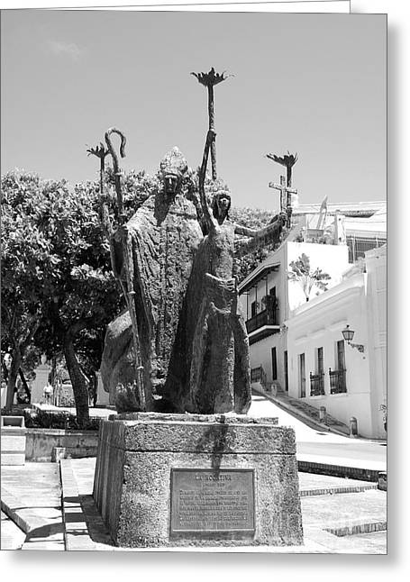 Rogativa Greeting Cards - La Rogativa Sculpture Old San Juan Puerto Rico Black and White Greeting Card by Shawn O