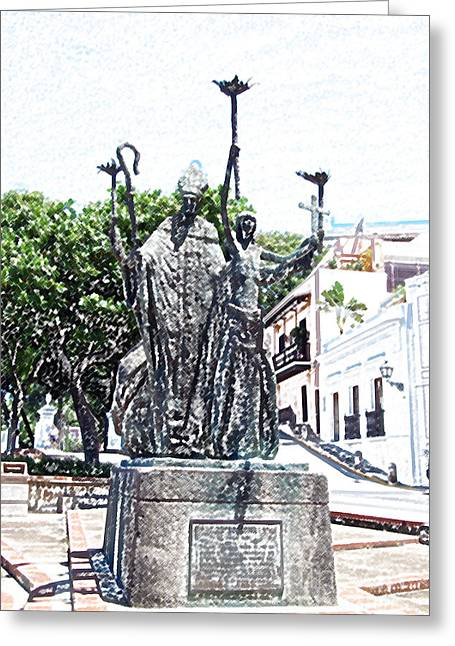 Rogativa Greeting Cards - La Rogativa Sculpture Old San Juan Puerto Rico Colored Pencil Greeting Card by Shawn O