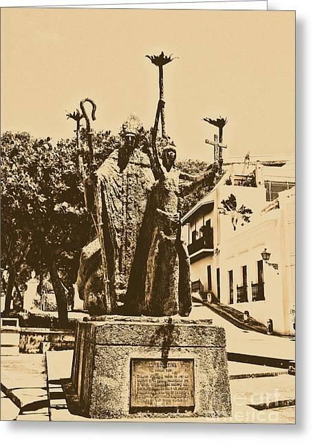 Rogativa Greeting Cards - La Rogativa Sculpture Old San Juan Puerto Rico Rustic Greeting Card by Shawn O