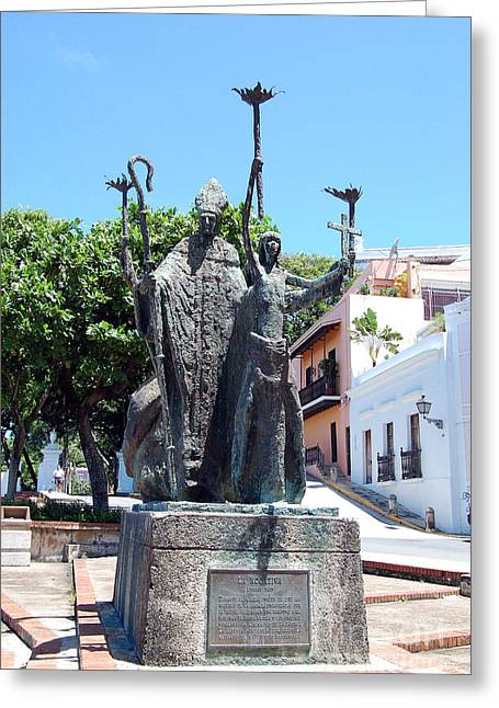 Rogativa Greeting Cards - La Rogativa Sculpture Old San Juan Puerto Rico Greeting Card by Shawn O