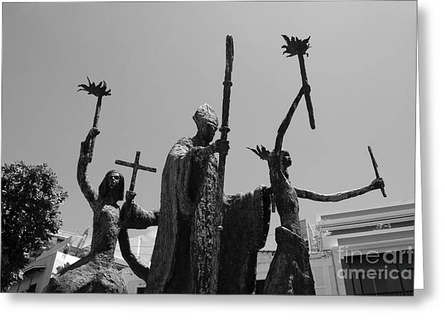 Rogativa Greeting Cards - La Rogativa Statue Old San Juan Puerto Rico Black and White Greeting Card by Shawn O