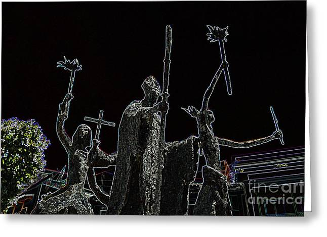 Rogativa Greeting Cards - La Rogativa Statue Old San Juan Puerto Rico Glowing Edges Greeting Card by Shawn O